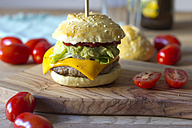 Sesame roll with burger, avocado cream, salad, ketchup and tomatoes - YFF000554