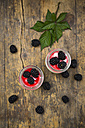 Two glasses of natural yoghurt with sirup and blackberries - LVF005133