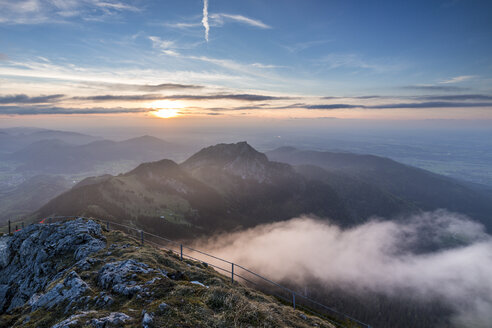 Germany, Bavarian Alps, sunset seen from Wendelstein - STSF001045