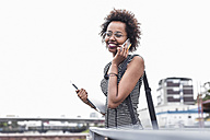 Smiling businesswoman telephoning with cell phone - UUF008191