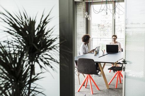 Two women working in an office - UUF008212