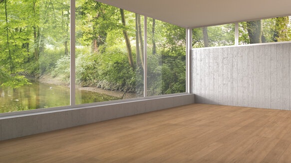 Empty room with panorama window and wooden floor, 3D Rendering - UWF000917