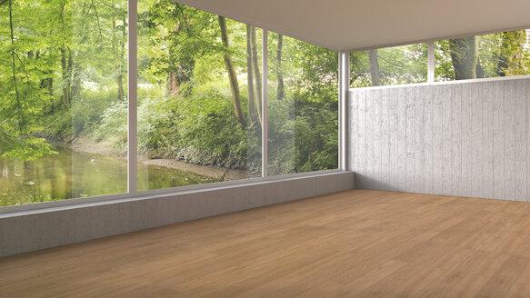 Empty room with panorama window and wooden floor, 3D Rendering - UWF000917