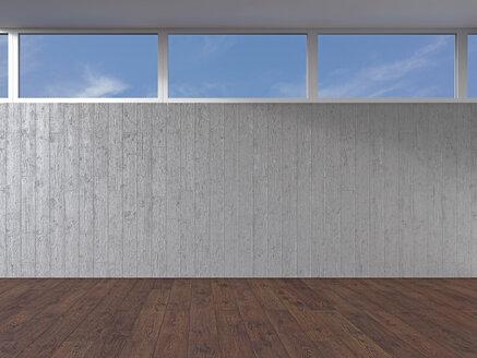 Empty room with concrete wall and wooden floor, 3D Rendering - UWF000920
