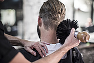 Barber brushing of customer - ZEF009207