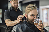 Barber combing hair of a customer - ZEF009225