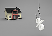 3D Illustration, house building with fishhook and symbol of percent - ALF000707