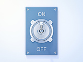 Blue flip switch, on, off, 3D Rendering - AHUF000202