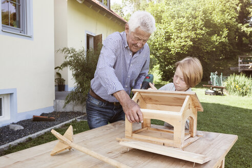 Grandfather and grandson building up a birdhouse - RBF004795