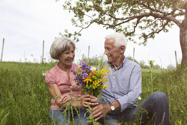 Happy senior couple with bunch of flowers in meadow - RBF004825