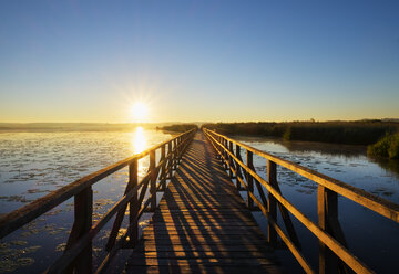 Germany, Baden-Wuerttemberg, Swabia, Upper Swabia, Bad Buchau, Lake Feder, wooden boardwalk in the morning - SIEF007072