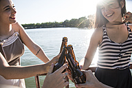 Friends relaxing together at sunlight toasting with beer bottles - ABZF000878
