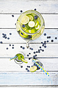 Glasses of infused water with lime, blueberries and mint - LVF005172