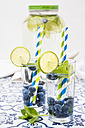 Glasses of infused water with lime, blueberries and mint - LVF005178