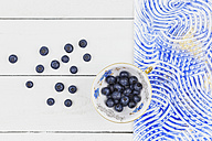 Collectors cup with blueberries, colorful paste paper, blue pattern - GWF004856