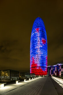 Spain, Barcelona, Torre Agbar at night - YR000120