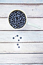 Saucepan of blueberries on wood - LVF005185