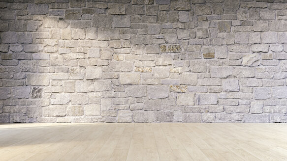 Natural stone wall and wooden floor, 3D Rendering - UWF000936