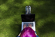 Young woman with dyed hair sitting on a meadow using laptop, top view - BOYF000469