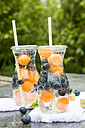 Carafes of infused water with blueberries and melon - SARF002829