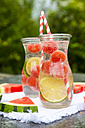 Two carafes of infused water with watermelon and lime - SARF002832