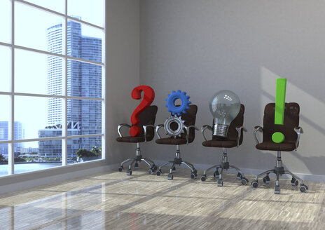 3d illustration, planning concept, swivel chairs with question mark, gears, bulb and exclamation mark in a office - ALF000711