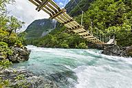 Norway, Sogn og Fjordane, Utla river and suspension bridge - STSF001056