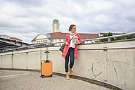 Germany, young woman at rail station in Sonneberg - VTF000557