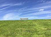 Germany, Hooksiel, empty bench on dike - ODF001418