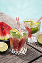 Fresh mineral water with watermelon, lime and ice in glasses - JUNF000554