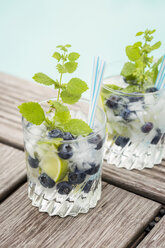 Fresh mineral water with blueberries, mint and ice - JUNF000563