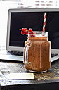Currant smoothie, notepad and notebook on wood - ODF001441