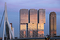 Netherlands, Rotterdam, Erasmusbrug and Nhow Hotel in the evening - FC001024