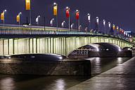 Germany, Cologne, Deutz Bridge at night - WG000922