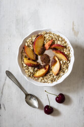 cherry smoothie bowl with peach and oat flakes, topping - EVGF003062