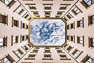 Italy, Milan, facades of a backyard seen from below - CST001135