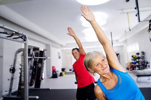 Mature woman and senior man doing gymnastics in fitness gym - HAPF000786
