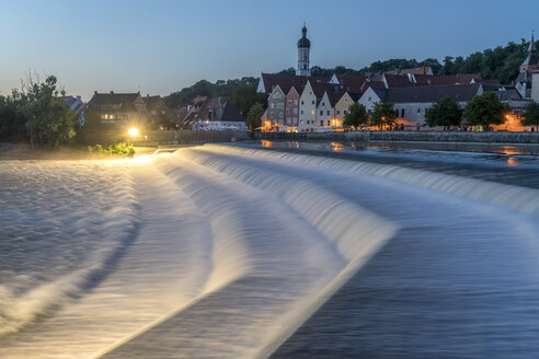 Germany, Bavaria, Upper Bavaria, Lech weir and the historic centre of Landsberg am Lech at night - PCF000257