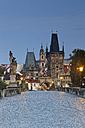 Czech Republic, Prague, Old town, Charles Bridge and Old Town Bridge Tower in the evening - GFF000714