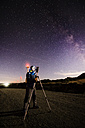 Photographer practicing astrophotography in the night - RAEF001410