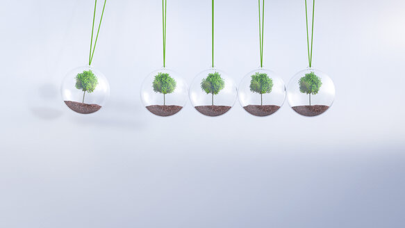 Newton's cradle with trees, 3D Rendering - AHUF000212
