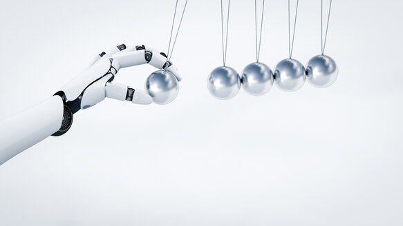 Robot's hand pushing Newton's cradle, 3D Rendering - AHUF000218