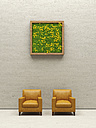 Two leather chairs and living wall, 3D Rendering - UWF000944