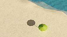 Umbrella on sandy beach seen from above, 3D Rendering - UWF000947