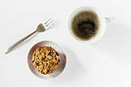 Home-baked crumble muffin anf cup of black coffee - EVGF003068