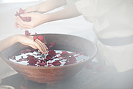 Hands and bowl of rosewater in spa - ZEF009573