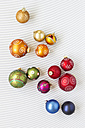 Christmas baubles on white background - MELF000138