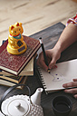 Young man drawing Maneki Neko - RTBF000254