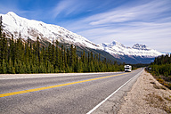 Canada, Alberta, Jasper National Park, Icefields Parkways, camper van on the road - SMAF000545