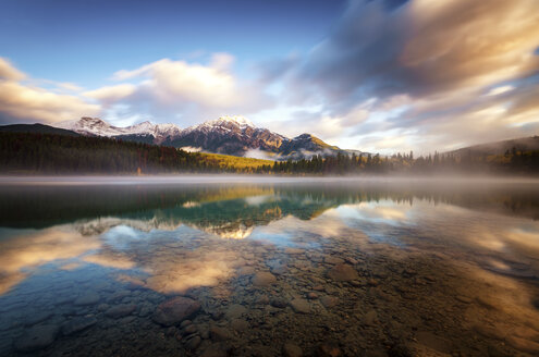 Canada, Jasper National Park, Jasper, Pyramid Mountain, Patricia Lake in the morning - SMAF000557